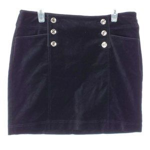 WHBM Velvet Mini Skirt Black Silver Pockets Size 8